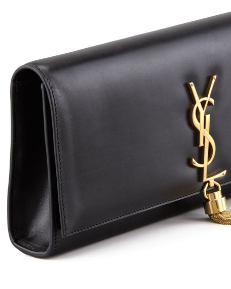ysl clutch silver - Saint Laurent Cassandre Tassel Clutch Bag, Black