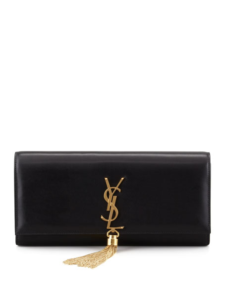 Saint Laurent Cassandre Tassel Clutch Bag, Black