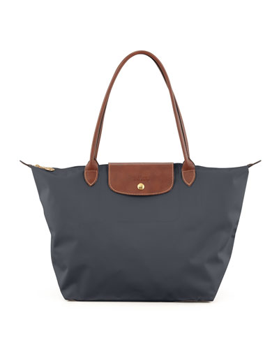 Le Pliage Monogram Large Nylon Shoulder Tote Bag, Dark Gray