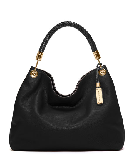 Large Skorpios Grained Shoulder Bag, Black
