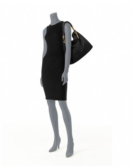 Large Skorpios Grained Shoulder Bag, Black