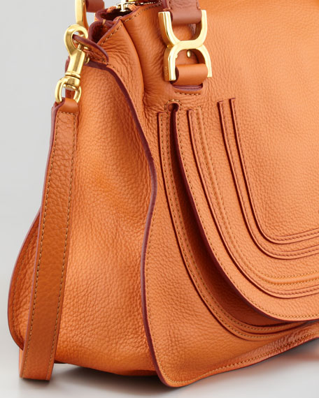 Marcie Medium Satchel Bag, Orange