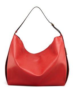 Stella McCartney Faux-Napa Big Shoulder Bag, Red