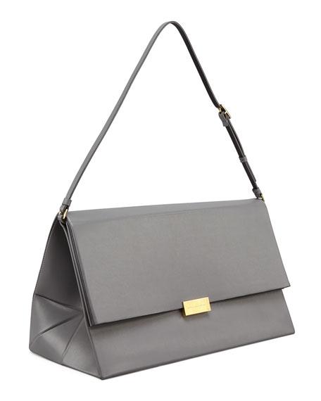 Faux-Napa Boxy Shoulder Bag, Gray