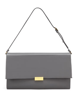 Stella McCartney Faux-Napa Boxy Shoulder Bag, Gray