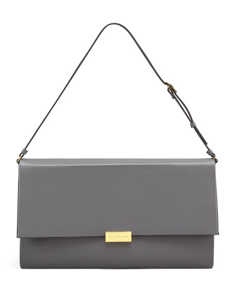 Faux-Napa Boxy Shoulder Bag, Gray