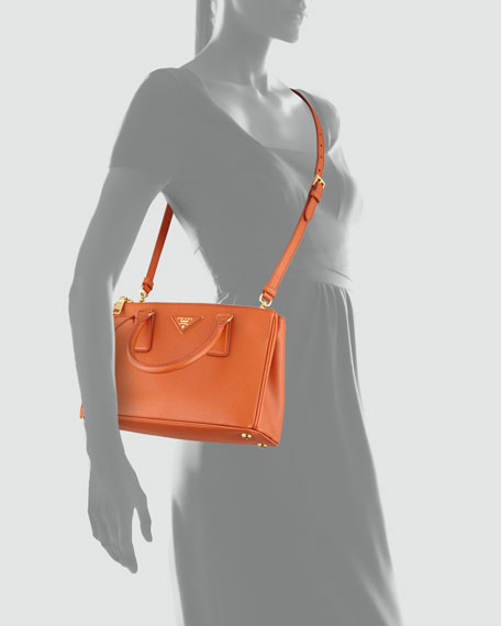 Prada Saffiano Double-Zip Mini Crossbody, (Orange) Papaya