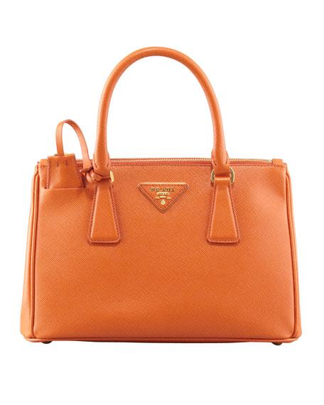 Prada Saffiano Bi-Color Sound Bag, Red/Orange (Fuoco+Papaya)
