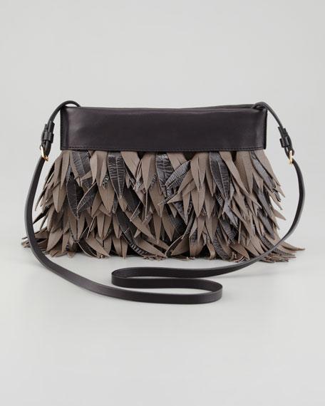 Lambskin Fringe Pochette Bag, Charcoal