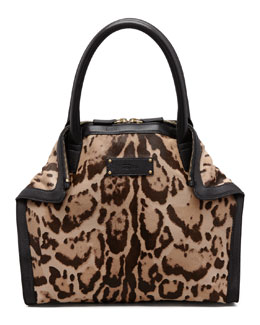 Alexander McQueen De-Manta Mini Leopard-Print Calf Hair Tote Bag