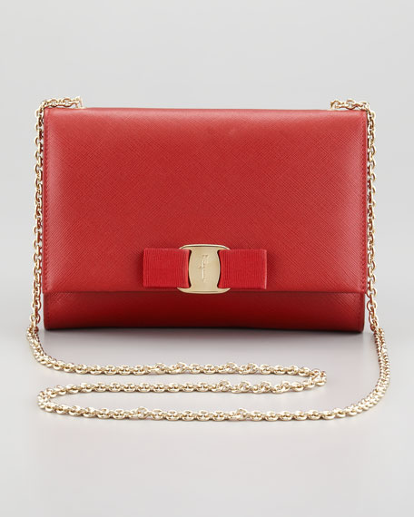 Salvatore Ferragamo Miss Vara Bow Wallet-on-Chain, Red