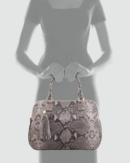 Thea Snake-Print Triple-Zip Tote Bag, Gray Opal