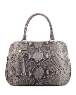 Tory Burch Thea Snake-Print Triple-Zip Tote Bag, Gray Opal