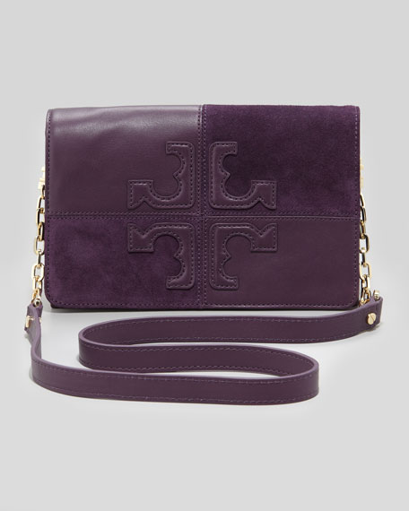 Natalie Suede & Leather Crossbody Bag, Plum