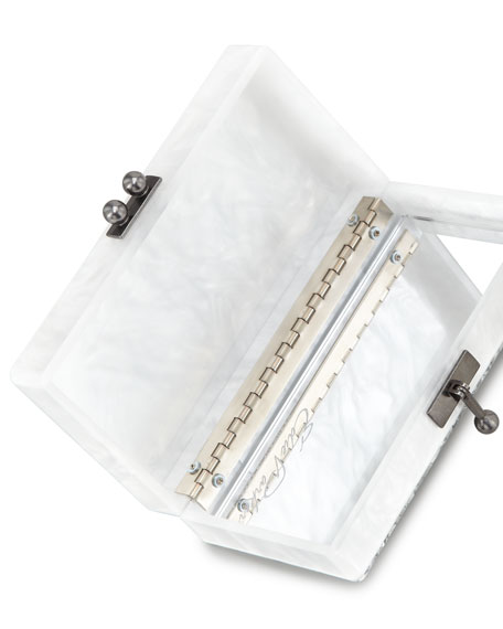 Jean Striped Acrylic Confetti Clutch Bag, White/Silver