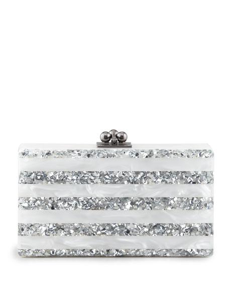 e998cb8add Edie Parker Jean Striped Acrylic Confetti Clutch Bag, White/Silver