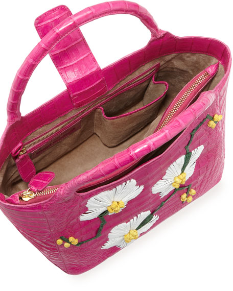 Crocodile Tote Bag with Floral Ornaments, Pink