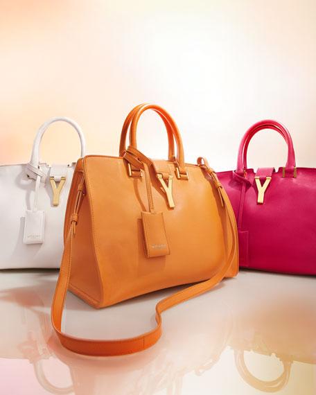 Saint Laurent Y-Ligne Cabas Mini Leather Bag, White