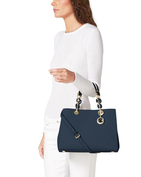 Cynthia Medium Saffiano Satchel Bag, Navy