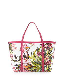 Dolce & Gabbana Escape Floral Canvas Shopper Tote Bag