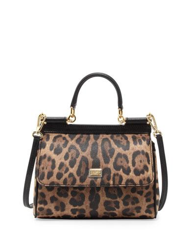 Miss Sicily Small Leopard-Print Satchel Bag