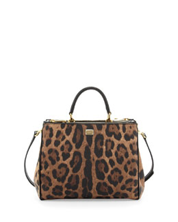 Dolce & Gabbana Sicily Mini Shopper Satchel Bag, Leopard