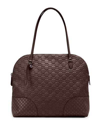 Gucci Bree Guccissima Leather Shoulder Bag, Dark Brown