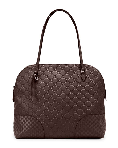 Gucci Bree Guccissima Leather Shoulder Bag, Dark Brown