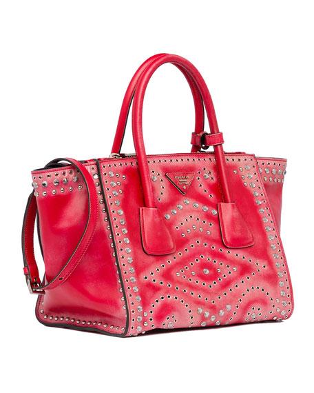 Vitello Vintage Small Twin Pocket Tote Bag, Red (Rosso)