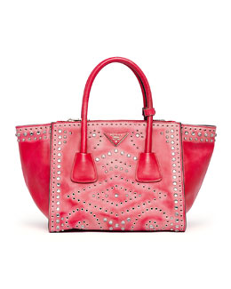 Prada Vitello Vintage Small Twin Pocket Tote Bag, Red (Rosso)