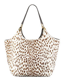 Elizabeth and James Spotted Calf Hair Shoulder Tote Bag