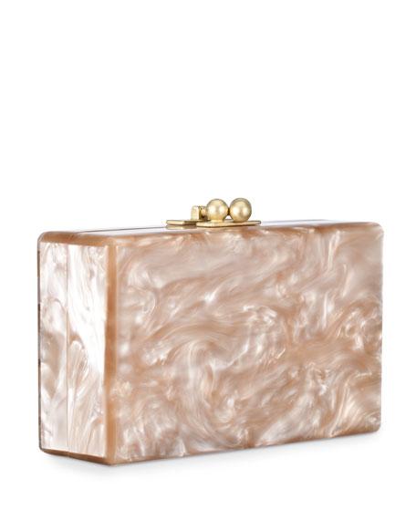 Jean Striped Box Clutch, Nude/White