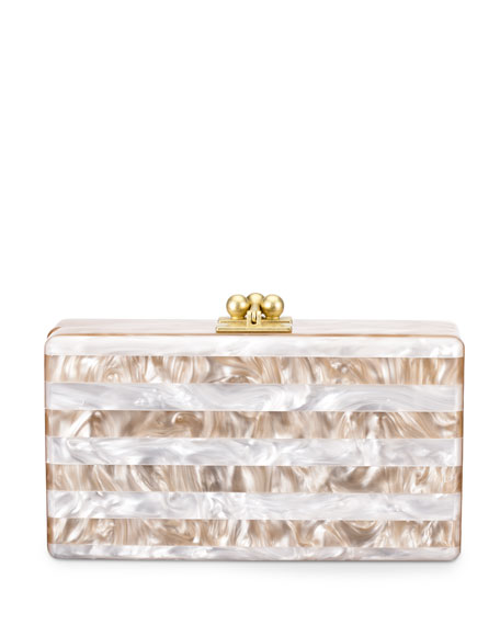 Edie ParkerJean Striped Box Clutch, Nude/White