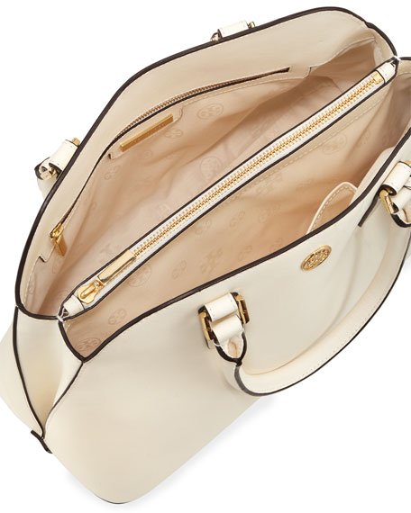 Robinson Saffiano Open-Top Dome Satchel Bag, Ivory