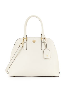 Tory Burch Robinson Saffiano Open-Top Dome Satchel Bag, Ivory