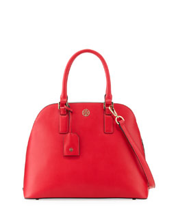 Tory Burch Robinson Open-Top Dome Satchel Bag, New Carnival