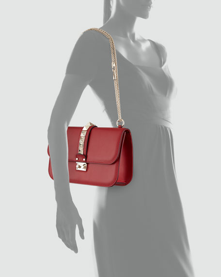 Lock Rockstud-Trim Flap Bag, Red