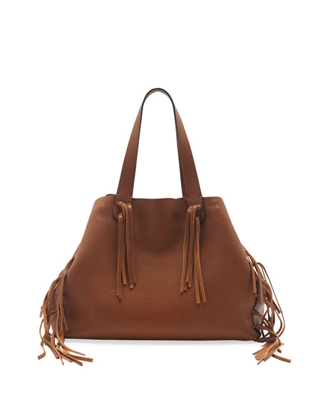 C-Rockee Fringe Leather Tote Bag, Tan