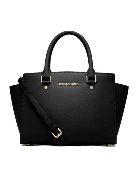 MICHAEL Michael Kors Selma Medium Top-Zip Satchel Bag,