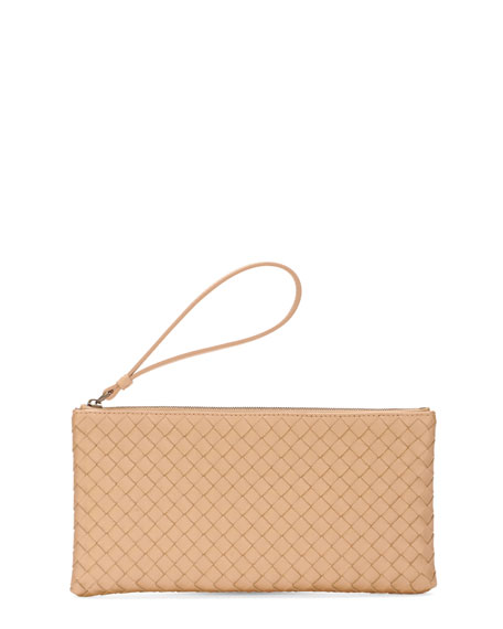 Woven Leather Wristlet Pouch, Champagne