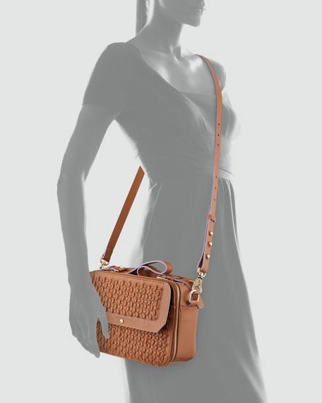 Leila Woven Double-Zip Crossbody Bag, Tobacco