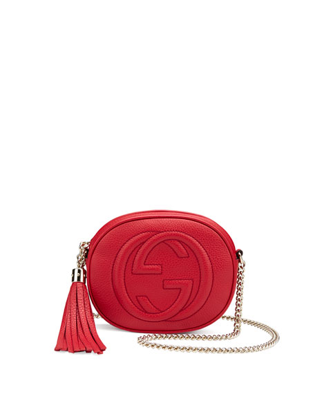 Gucci Soho Leather Mini Chain Bag, Red