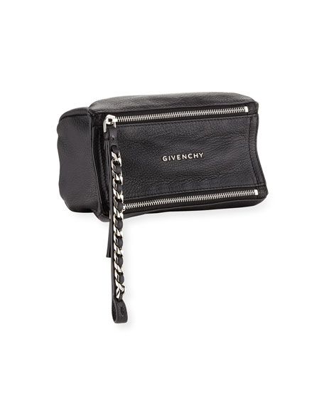 Pandora Leather Wristlet Pouch Bag, Black