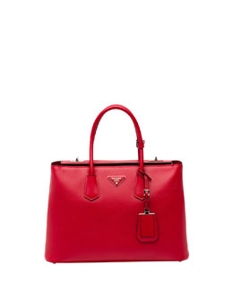 Prada Saffiano Cuir Twin Bag, Red (Fuoco)