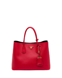 Prada Saffiano Cuir Double Bag, Red (Fuoco)