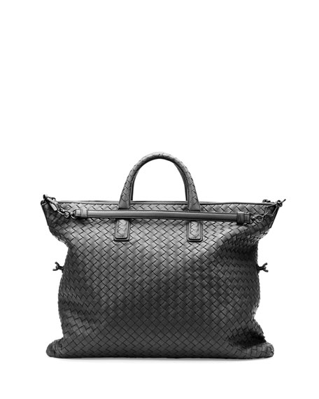 Medium Convertible Woven Tote Bag, Black