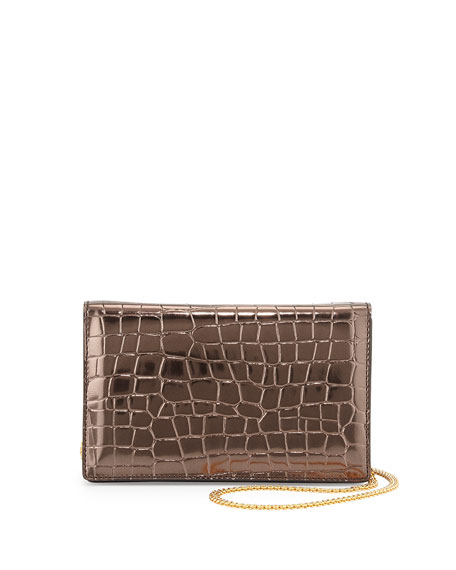 Metallic Faux-Crocodile Crossbody Bag, Bronze