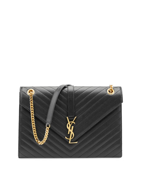 yves saint laurent shoulder bag - yves saint laurent small monogram smooth black matelasse leather ...