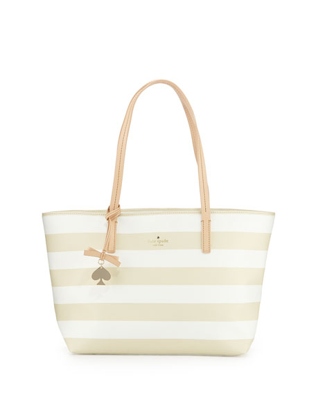 kate spade new york hawthorne lane ryan striped tote bag, black/cream