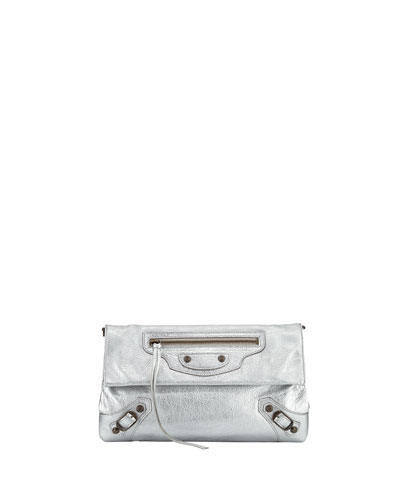 Classic Arena Envelope Crossbody Bag, Silver